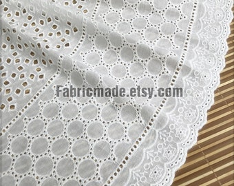 Embroidery Cotton Fabric, Hollowed Eyelet Flower Lace Cotton In White - 1/2 yard