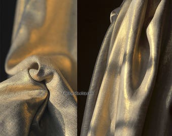 Designer 100%  Flax Fabric Natural Beige Flax Coating Gold Silver For Garment - A Half Yard