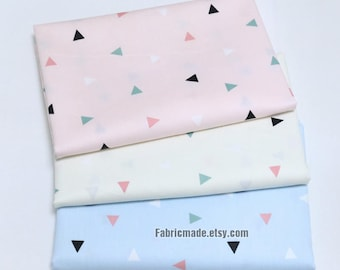 Triangle Cotton Fabric/ Pastel Pink Blue Grey Gray Cotton Fabric With Little Triangle - 1/2 Yard