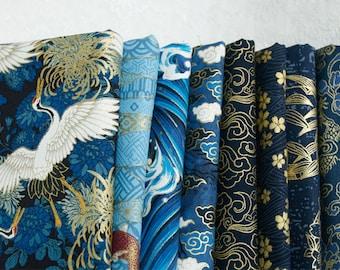 Fabric, Cotton Bronzing Cloud Crane Gilded Gold golden Asian Fabric  - 1/2 Yard