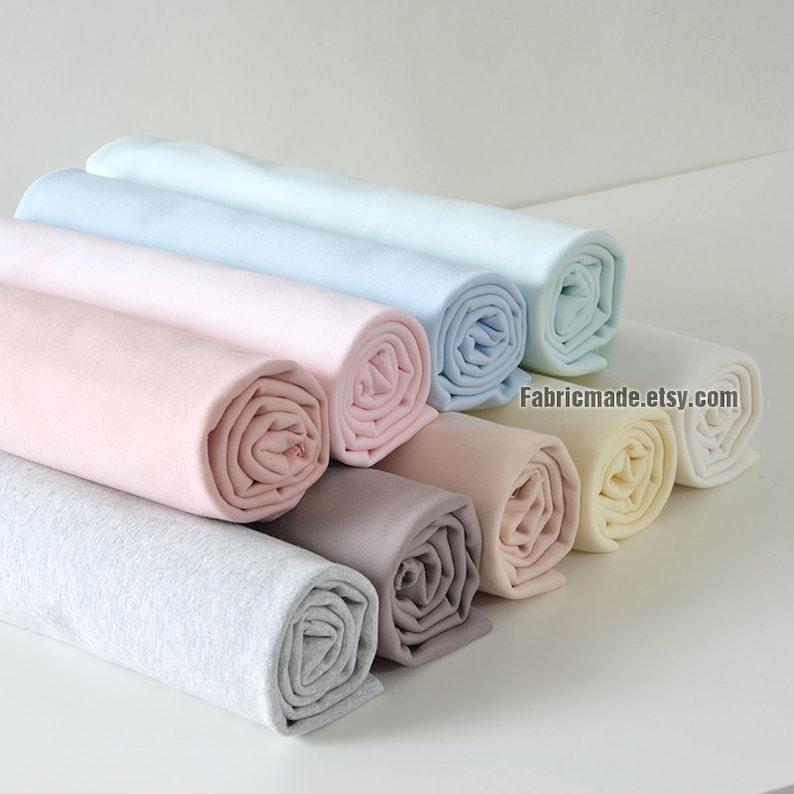 b14061221b3 Solid Pastel Jersey Knitting Fabric Light Blue Pink Beige | Etsy
