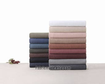 Vintage Style Solid Linen Cotton Fabric Pre Washed Heavy - 17 colors Fabric 1/2 yard