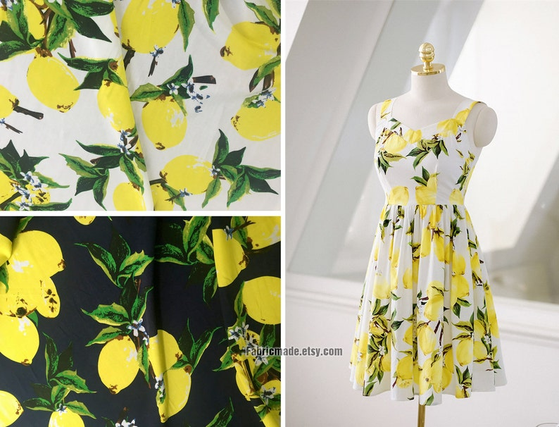 822b55c81a Yellow Lemon Fabric Off White Black Cotton Fabric With Yellow | Etsy