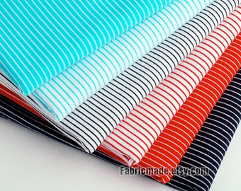 1mm Pin Stripes Fabric White Red Blue Pink Black Navy Stripe Baby Jersey Knit Cotton Fabric- 1/2 Yard