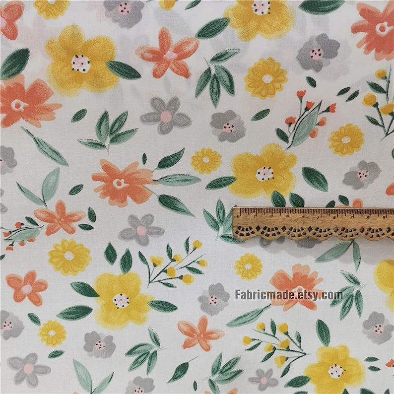 One yard  Floral Cotton Fabric/ Shabby Chic/ Flower Fabric/ 3 orange flower