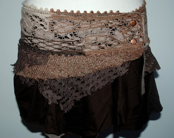 Distressed dusty pink skirt with lace, psy trance, bohemian, hippie, rave, ethnic, gypsy