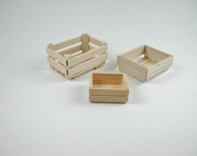 Vegetable crate, wooden crate, box for the doll's room, the doll house, Dollhouse miniatures, cribs, miniatures, model making