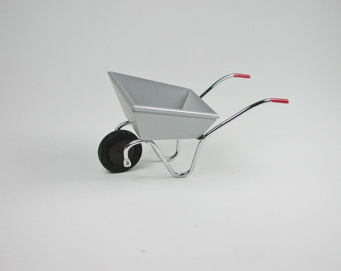 Metal wheelbarrow, for the doll's house, the doll's house, Dollhouse miniatures, nativity scenes, miniatures, model making # GK 6188