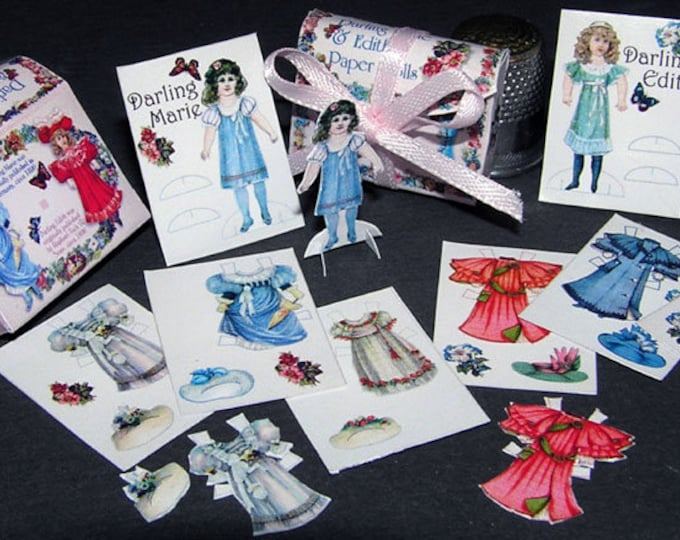 Dressing Dolls Darling Marie and Edith, Paperminis, Bastelkit of paper in miniature for the doll house, Dollhouse Miniatures, 40062
