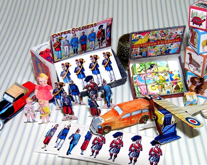 Toys for boys and girls, Paperminis, Bastelkit of paper in miniature, doll parlor, Doll house, Dollhouse Miniatures # 40078