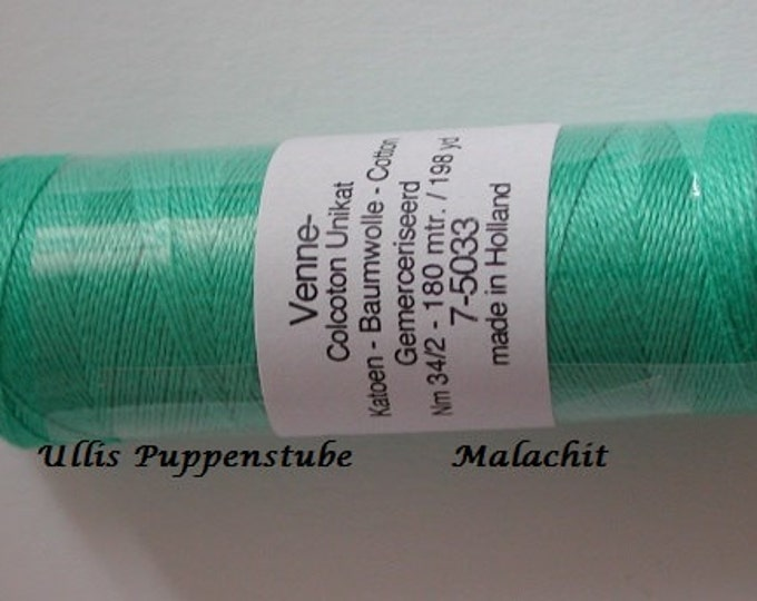 5033 Venne cotton, knitting and crochet thread for miniature manual work, color malachite