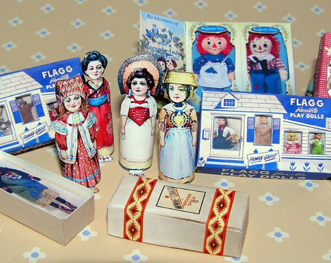 Vintage Doll Collection, Bastelkit of paper in miniature for the Dollhouse, the doll house, Dollhouse Miniatures # 40079