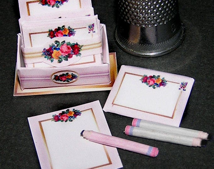 Stationery flower, Paperminis, Bastelkit of paper in miniature for the Dollhouse, the doll house, Dollhouse Miniatures # 40006