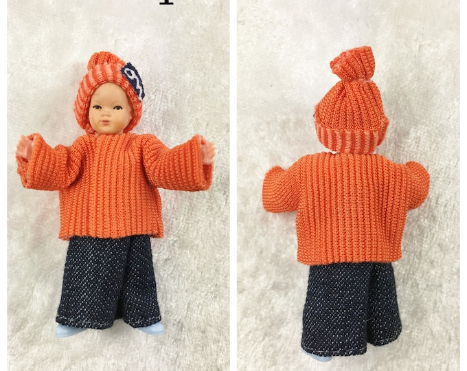 Caco dollhouse bending doll, toddler 5.5 cm for the dollhouse, the dollhouse, cribs, miniatures, model making, collectors
