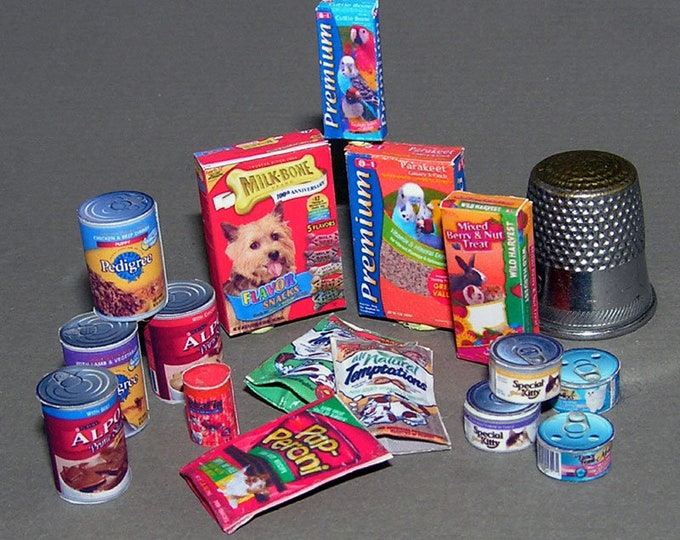 Dog food, cat food, Paperminis, Bastelkit of paper in miniature for the Dollhouse, the doll house, Dollhouse Miniatures # 40054
