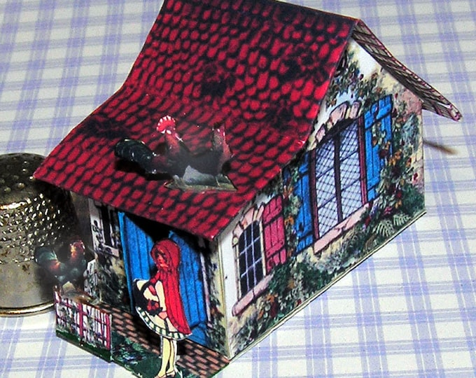 Little Red Riding Hood Cottage, Paperminis, Bastelkit of paper in miniature for the Dollhouse, the doll house, Dollhouse Miniatures # 40066
