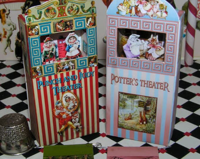 Punch and Judy and Beatrix Potter Theatre, Paperminis, paper craft kit in miniature for the doll's house, the doll's house