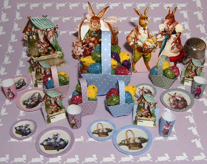 Easter, Bastelkit of paper in miniature for the Dollhouse, the doll house, Dollhouse Miniatures # 40025