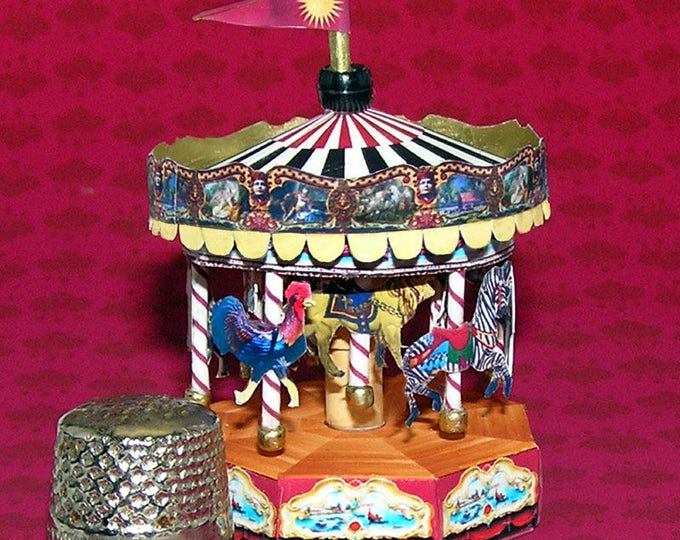 Carousel, Bastelkit of paper in miniature for the Dollhouse, the doll house, Dollhouse Miniatures # 40077
