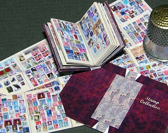 Stamp album, Paperminis, Bastelkit of paper in miniature for the Dollhouse, the doll house, Dollhouse Miniatures # 40019