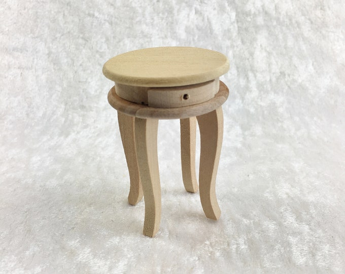 Small round side table with two drawers for the dollhouse, dollhouse, dollhouse, cribs, miniatures, model making, collectors
