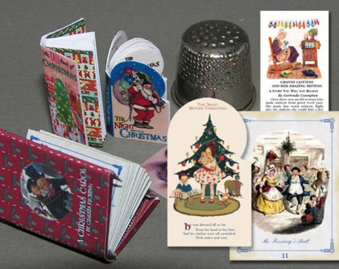 3 books Christmas stories, Paperminis, Bastelkit of paper in miniature for the doll parlor,, Dollhouse Miniatures # 40031
