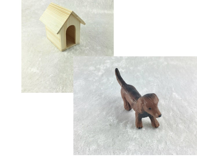Dachshund and doghouse, for the dollhouse, dollhouse, Dollhouse Miniatures, cribs, miniatures, model making