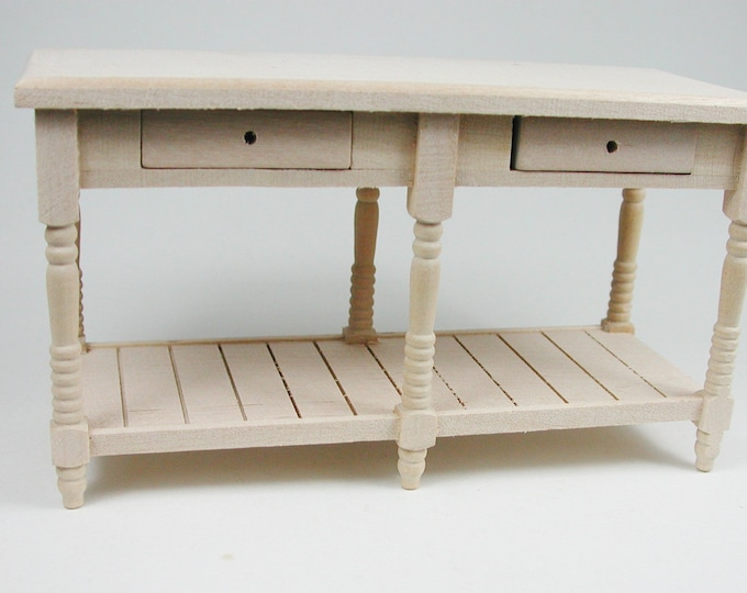 Rustic kitchen table with four drawers with board, for the Dollhouse, the doll house, Dollhouse Miniatures, Miniatures, # 22039