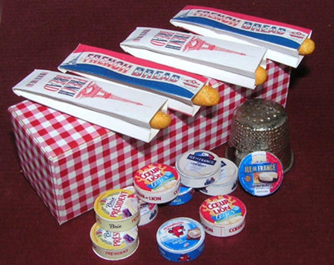 Gourmet cheese boxes and paper bags for baguette, paper craft kit in miniature for the doll's house, the doll's house