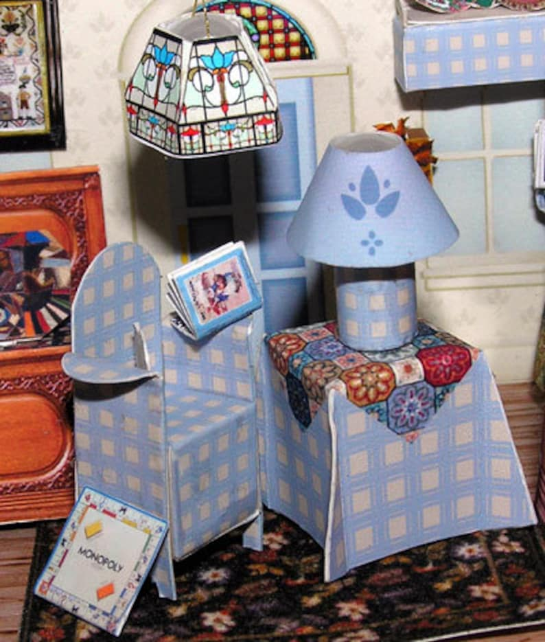 the doll/'s house Paperminis Paper Craft Kit in miniature for the doll/'s house Dollhouse Miniatures Americana Cottage