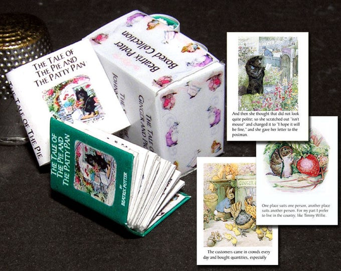 Edition Beatrix Potter, 3 books, Paperminis, Bastelkit of paper in miniature, doll parlor, Doll house, Dollhouse Miniatures # 40024