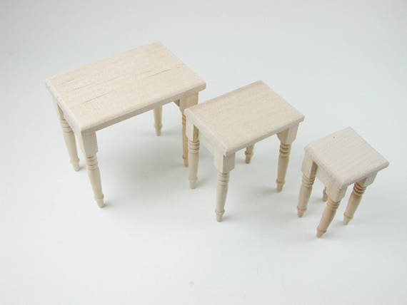 Table set, 3 pieces for the doll parlor, the doll house, Dollhouse miniatures, cribs, miniatures, Model Building # v 22096