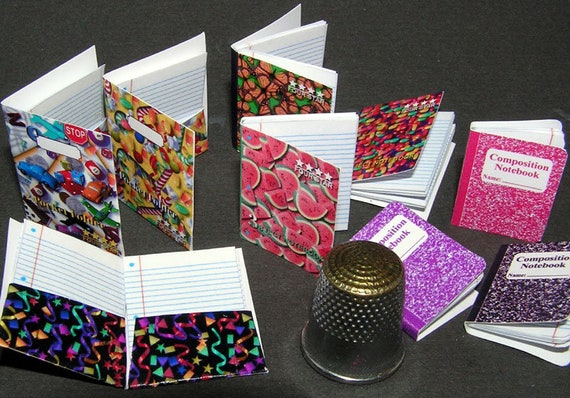 6 notebooks, Paperminis, Bastelkit of paper in miniature for the Dollhouse, the doll house, Dollhouse Miniatures # 40026
