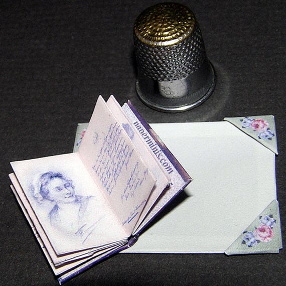 Desk set, Paperminis, Bastelkit of paper in miniature for the Dollhouse, the doll house, Dollhouse Miniatures # 40043