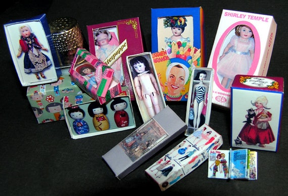 Doll Box Collection, Paperminis, Bastelkit of paper in miniature for the doll parlor, the doll house, Dollhouse Miniatures # 40010