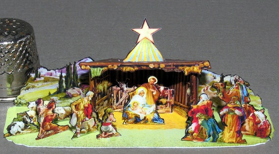 Christmas Crib and Storage box, Bastelkit of paper in miniature for the Dollhouse, the doll house, Dollhouse Miniatures # 40073