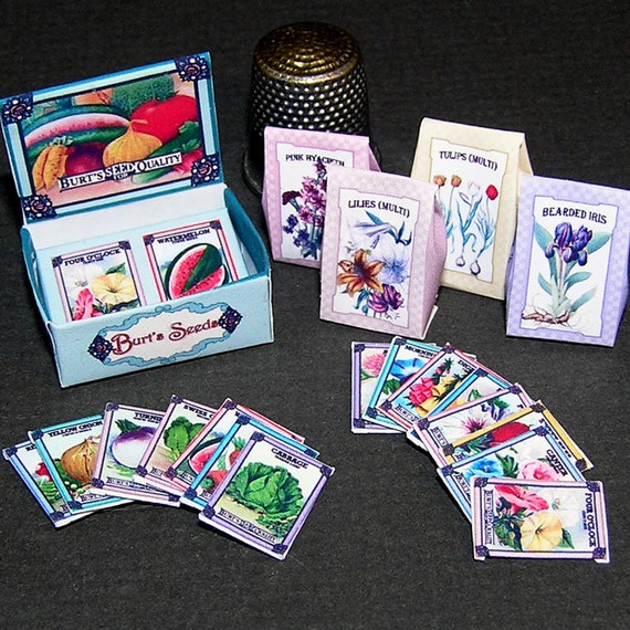 Garden Plant Set, Paperminis, Bastelkit of paper in miniature for the Dollhouse, the doll house, Dollhouse Miniatures # 40002