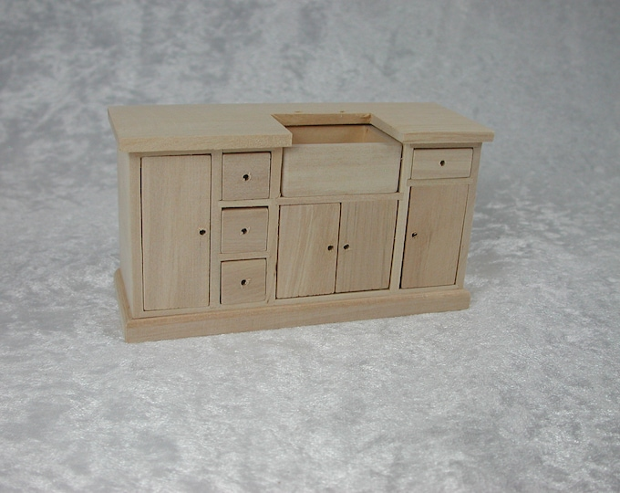 Kitchen cupboard with sink, for the Dollhouse, the doll house, Dollhouse miniatures, cribs, miniatures, modelling # 23436