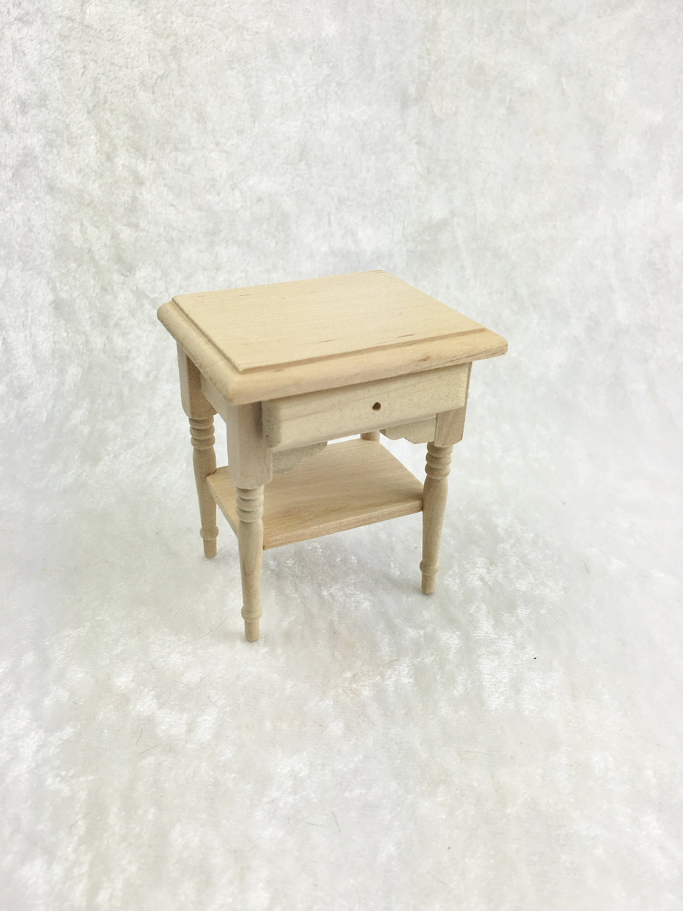 Dollhouse Miniature Coffee Table in White PaintedWood