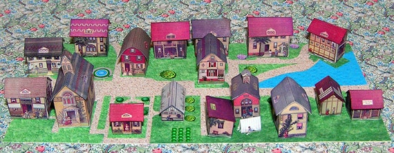 Village, Paperminis, Bastelkit of paper in miniature for the Dollhouse, the doll house, Dollhouse Miniatures, # 40065
