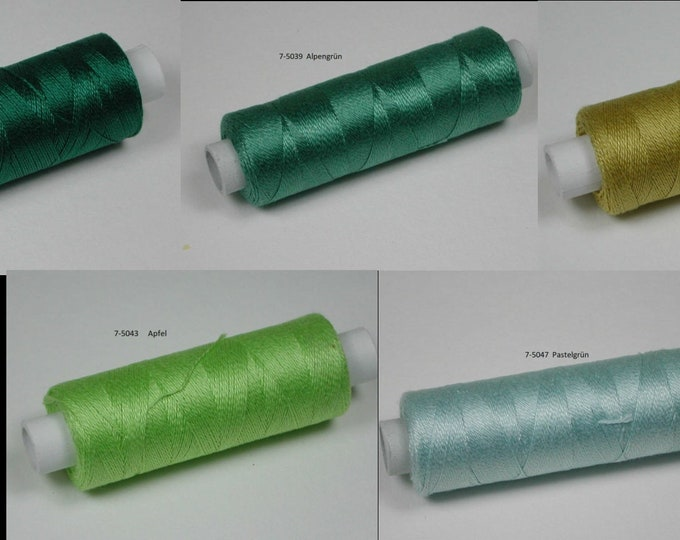 Cotton, knitting and crochet thread for miniature work, color 5034 dark green, 5039 Alpengrün, 5040 Curry, 5043 Apple, 5047 Pastelgrün