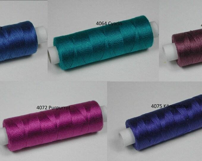 Cotton, knitting and crochet for miniature handicraft, color 4062 Cobalt, 4064 Cyarin, 4071 maure, 4072 purple, 4075 royal blue
