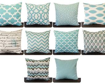 Throw pillow cover, cushion cover, pillow sham Smokey Blue you choose fabric chevron ikat village blue home decor