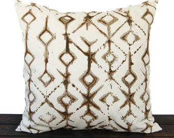 Pillow, Throw Pillow, Pillow Cover, Cushion, Decorative Pillow, Tribal Caramel Brown Cream geometric traditional contemporary modern decor