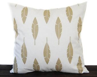 Decorative Throw pillow cushion covers Metallic Gold and White, Athena Gold Feather