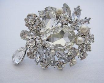 Vintage Style Bridal Brooch,Pearl & Rhinestone Wedding Pin Brooch,Art Deco Style Brooch,Old Hollywood,Bridal Jewelry,Bridesmaid dress brooch