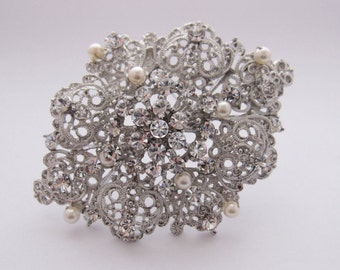 Bridal pearl brooch,wedding hair comb,bridal accessories,Vintage Inspired Rhinestone and Pearl Wedding Brooch,crystal, Wedding Pendant