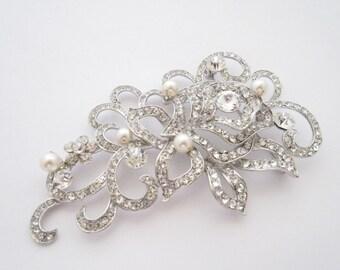 Vintage Style Wedding Bridal Brooch,Pearl Bridal Sash Brooch,Victorian Style Wedding Accessories,Bridal Brooch Pin,Bridesmaid dress brooches