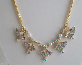 Gold Tone Pendant Necklace with Clear Crystals and Rhinestone Dangles on a Gold Tone Chain