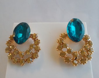 Post/Stud Earrings With a Blue Crystal Bead and Gold Rhinestones